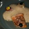 Rotbarbe / Jakobsmuschel / Tomate / fermentierter Knoblauch