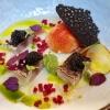 Gebrannte Makrele, Tomatenschaum, Apfel, Beete, Caviar d'Aquitaine