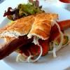 MoritzKunstCafe Currywurst im Fladenbrot