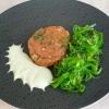 Lachstatar, Wasabi-Schaum, Wakamesalat