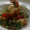 Kaltwassergarnele mit Humus, Tomate und Paprika