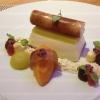 Dessert - eingekochte Reneclauden mit Curryblättern, Kaktusfeigensorbet,, Schokoladenschaum