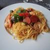 Spaghetti mit Gemüse und Scampi in Aurora Suace