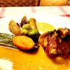 Schweinefilet in Speckmantel, Ziegenkäse in Weisswein Sauce