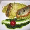~Gebratenes Zanderfilet mit Bandnudeln in Bärlauch-Pesto und Parmesan