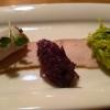 Bratenscheiben vom Landschwein  marinierter Lauch   Rotweinzwiebeln