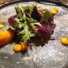 Carpaccio vom Seeteufel    Butternusskürbis   Meerrettich   Kräutersalate