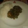 Mutton Saag (Lammfleisch mit fein gewürztem Spinat) mit Reis