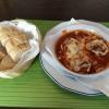 Schafskäse gefüllt und panierten  Champignons in  Tomatensoße 4,50€