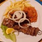 Foto zu Horlachschänke: Cevapcici, Fleischspieß mit Pommes u. Reis sowie Beilagensalat.27.09.19