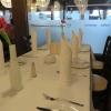 unser Tisch war schön mit Stoffservietten eingedeckt