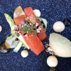 Saibling / grüner Spargel / grüner Apfel / Wasabi