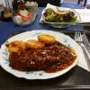 Zigeunerschnitzel, Röstis und Salat zu 4,90€