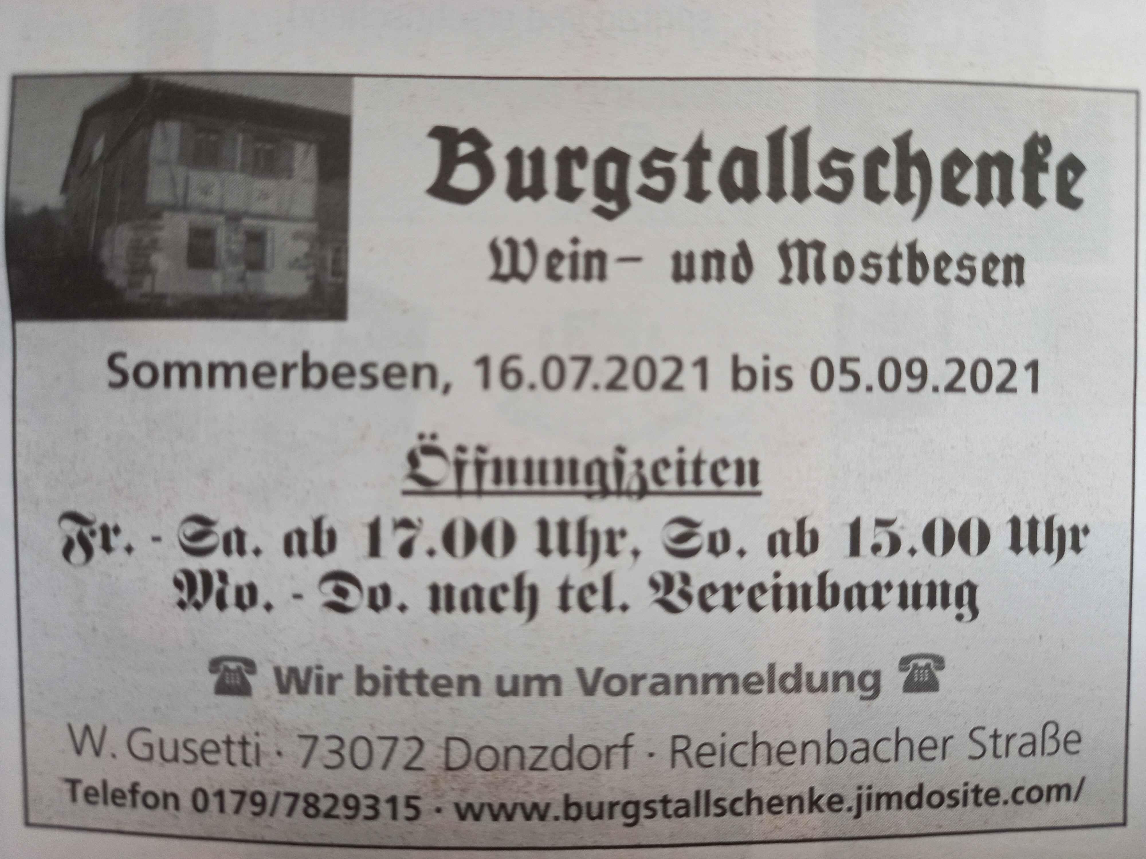 Bild zur Nachricht von Burgstallschenke