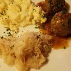 Foto zu Brauhaus Zur Sonne: Mittagstisch zu 8,90€, Leberknödel mit Specksoße, Sauerkraut u, Kartoffelpürre,(25.10.18)