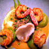 Wilde Argentinische Garnele  Erbse, Rotes Curry, Quinoa