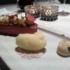 Foto zu Weinstube am Brühl im Romantik Hotel am Brühl: Bergamotte-Sorbet / Tonkabohnencrème