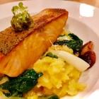 Foto zu Restaurant Friedrich: Gebratener Lachs, Wasabi-Kartoffelstampf, Pak Choi, Shitake