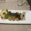 Bäckchen vom Wollschwein mit Sülze, Schinken, Pilzcreme, saurem Romanesco und Vanille Apfel