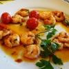Gambas mit Knoblauch, Chili, in Olivenöl gebraten