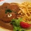 Pfefferrahmschnitzel mit Pommes frites (9,80 €