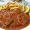 Paprikaschnitzel mit Pommes