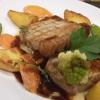 Steak vom Duroc Schwein auf Pastinakenpürree, Risoleekartoffeln