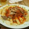 Rigatoni mit Rindfleisch, Pesto und Pilzen