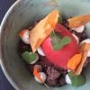 Erdbeersorbet / Rührkuchencreme / Schokocrumble / Quark