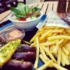 Merguez, Pommes frites, Salat, Sauce rouille