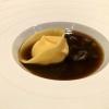 Parmesantortelloni / Morcheltee / Bohne