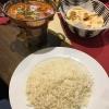 Chana Masala, Kichererbsen, Zwiebeln und Knoblauch in pikanter Currysauce mit Reis (9,00€)