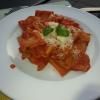 Paccheri mit Mozarella, Basilikum und Tomatensauce
