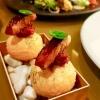 Pani Puri  Nuri seaweed powder, parmesan foam, oyster-date glaze, smoked eel, red pepper marmalade