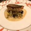 Geangelter Wolfsbarsch mit Zucchini, Safran-Fenchel und Sepiarisotto
