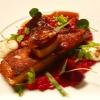 lackierter Schweinbauch, Ducca, Schafskäse, Aprikose, Cranberry, Rote Bete, Trachanas