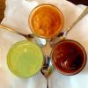 Mintsauce (links u.) | Chili sauce (oben) | Imli Ki (rechts u.)