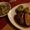 Mittagstisch (6,50€) Schweinebraten mit Knödel und Salat.