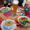 Kartoffelsuppe und Salat - danach Sauerbraten für 7,90