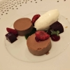 Nougatmousse, Buttermilch, Himbeere