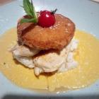 Foto zu Gaststätte in der Domhof Hausbrauerei: Hähnchenbrustfilet in Curryrahm mit gebackenem Ananasring und Kokosrisotto