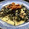 Schwarze Spaghettoni / Kingfisch / Lauchzwiebeln / Getr. Tomaten Pesto
