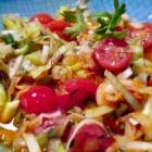 Foto zu Brasserie: Garnelen, Bandnudeln, Tomaten und viel Lauch