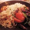 Tomatenspaghetti mit Jagdwurstwürfeln