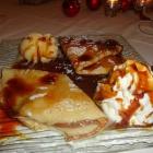 Foto zu Zur Bachmühle: Crepes mit Caramellsosse,Vanilleeis und Sahne