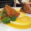 Linsen Dal mit gebackener Mango, Kürbispüree und Safranschaum