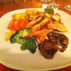 Tris di Pesce an Gemüse und Kartoffelecken
