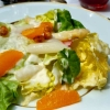 Kopfsalat, Joghurt, Spargelspitzen, Orangen, Radieschen