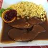 Rehbraten mit Spätzle und Salat vom Buffet (14,50 €