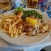 """""""Schweinerückensteak au four, dazu gebutterte Erbsen und Pommes Frites"""" für 12,50 €"""